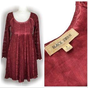 Black Swan Burgundy Lace Rayon Shift Dress